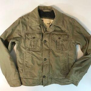 Hollister Mens Military Jacket SZ Small Fur